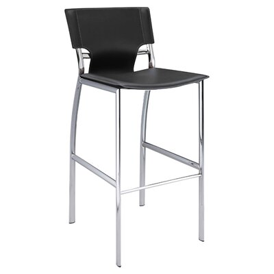"Creative Images International 30"" Leather Barstool with Chrome Legs"