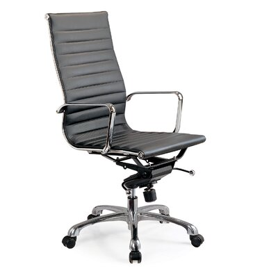 Creative Images International High Back Leatherette Office Chair with Chrome Base