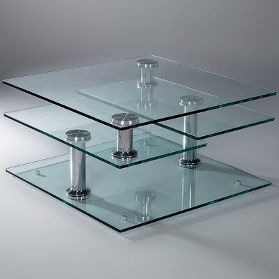 Creative images international motion glass coffee table for Wayfair glass top coffee table