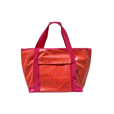 Scroll Fuchsia Picnic Tote in Orange