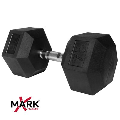 X-Mark 75 lb Rubber Hex Dumbbell