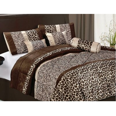 LaCozee Safari Micro Fur 7 Piece Bed in a Bag Set