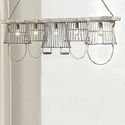Creative Co-Op Casual Country Basket 5 Light Pendant