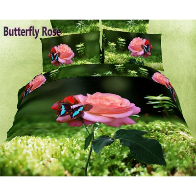 Dolce Mela Butterfly Rose 6 Piece Duvet Cover Set