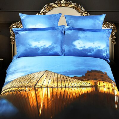 Dolce Mela Louvre Paris Egyptian Cotton 6 Pieces Duvet Cover Set