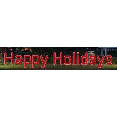 "Holiday Lighting Specialists Large LED ""Happy Holidays"" Outdoor Light"