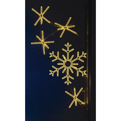 Holiday Lighting Specialists Pole Decoration Snowflake Cascade in Warm White