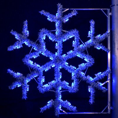 "Holiday Lighting Specialists 36"" Pole Decoration Garland Snowflake in Blue"