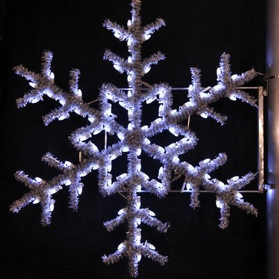 "Holiday Lighting Specialists 36"" Pole Decoration Garland Snowflake in Pure White"