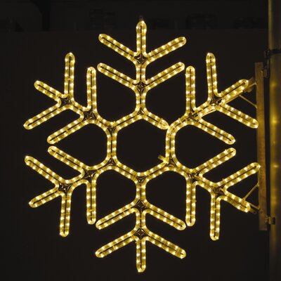 "Holiday Lighting Specialists 36"" Pole Decoration Hexagon Snowflake in Warm White"
