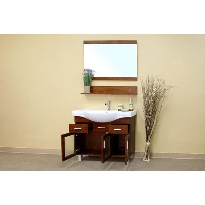 Bellaterra Home Crenshaw Bathroom Mirror in Medium Walnut
