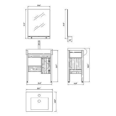 """Bellaterra Home Caldwell 28"""" Single Vanity Set"""