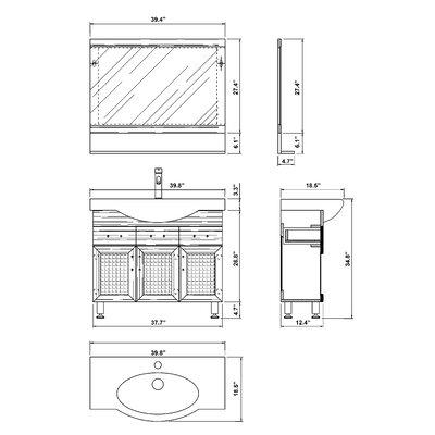 "Bellaterra Home Crenshaw 40"" Single Vanity Set"