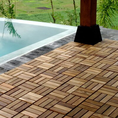 "Kontiki Teak 12"" x 12"" Interlocking Parquet Deck Tiles"