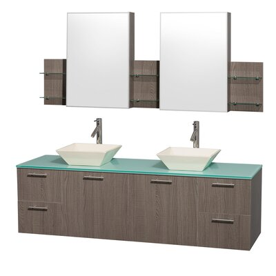 "Wyndham Collection Amare 72"" Double Bathroom Vanity Set"