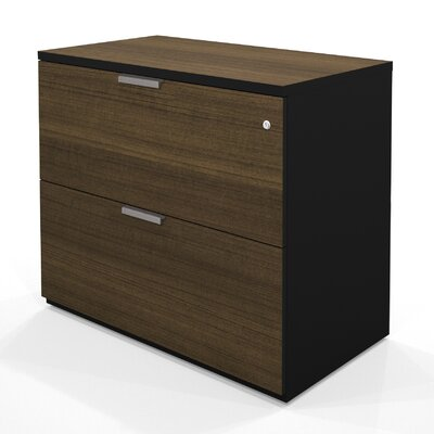 Bestar Pro-Concept Assembled Lateral File in Milk Chocolate Bamboo / Black