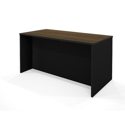 Bestar Pro-Concept Executive Desk in Milk Chocolate Bamboo and Black