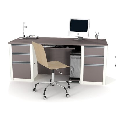 Bestar Connexion Contemporary Executive Desk Kit with Assembled Pedestals