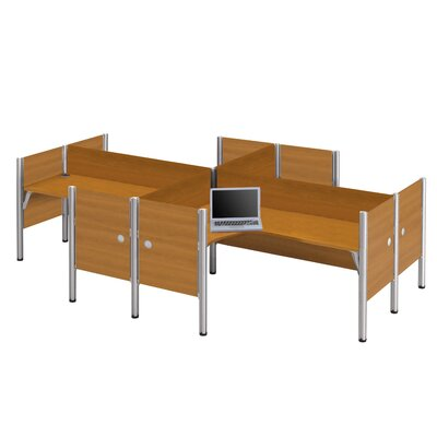 Bestar Pro-Biz Four L-Desk Workstation With 4 Melamine Privacy Panels