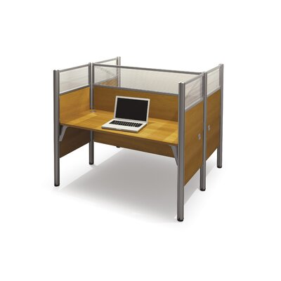 Bestar Pro-Biz Double Face-to-Face Workstation With 5 Melamine Privacy Panels & 5 Acrylic Glass Privacy Panels