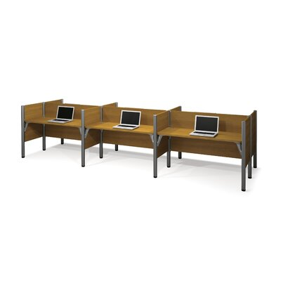 Bestar Pro-Biz Six-Straight Desk Workstation with 4 Privacy Panels