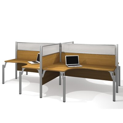 Bestar Pro-Biz Four L-Desk Workstation With 4 Melamine Privacy Panels & 4 Acrylic Glass Privacy Panels