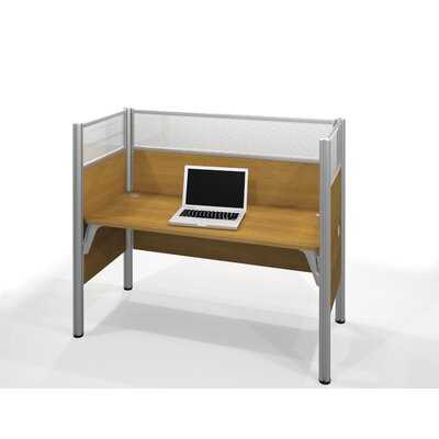 Bestar Pro-Biz Simple Workstation With 3 Melamine Privacy Panels & 3 Acrylic Glass Privacy Panels