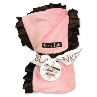 Trend Lab Ruffle Receiving Blanket in Pink and Brown