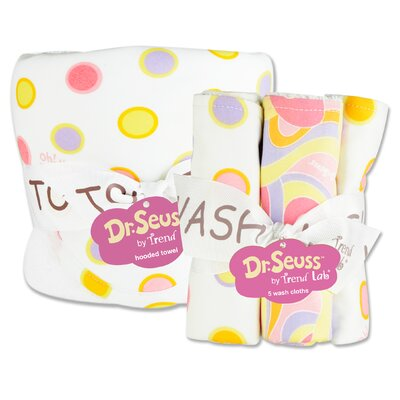 Dr. Seuss Oh The Places You''ll Go Bouquet Hooded Towel and Wash Cloth Set