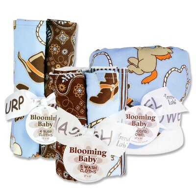 Trend Lab Cowboy Bouquet Bath and Burp Cloth Set