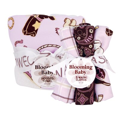 Rodeo Princess Hooded Towel and Wash Cloth Bouquet Set