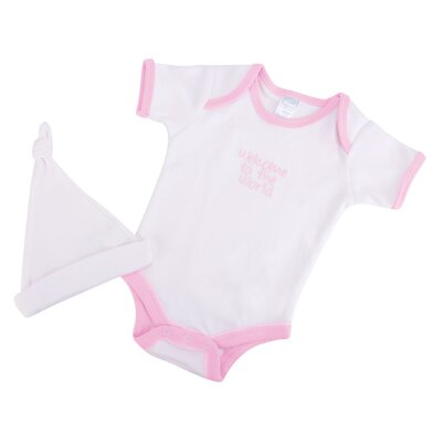 "Trend Lab Good Fortune Two Piece ""Welcome to the World"" Newborn Gift Set in Pink"