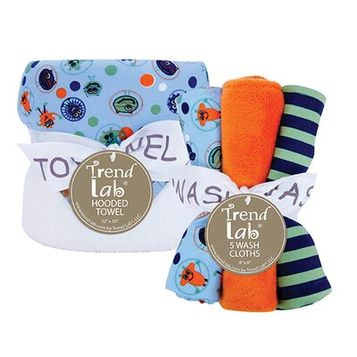 Snuggle Monster Bouquet Set with Hooded Towel and Wash Cloth