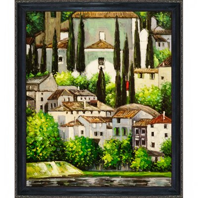 Tori Home Church in Cassone (Landscape with Cypress) Klimt Framed Original Painting