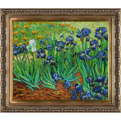 Tori Home Irises by Van Gogh Framed Original Painting