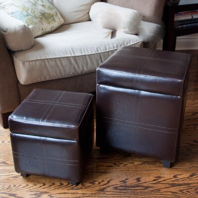 Simpli Home Avalon Storage Cube Ottoman (Set of 2)