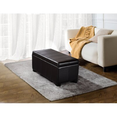 Simpli Home Dover Rectangular Leather Storage Ottoman
