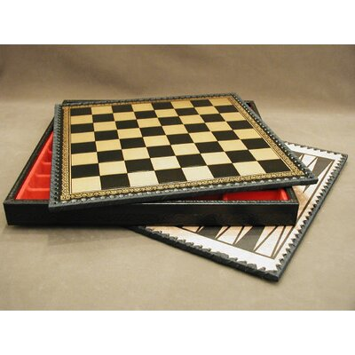 "Ital Fama 14"" Pressed Leather Chest Chess Board in Black / Gold"