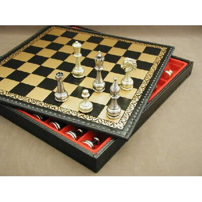Ital Fama Large Metal Staunton on Leather Chest Chess Set