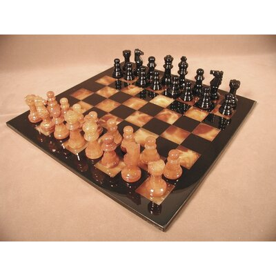Scali Alabaster Chess Set in Black / Brown