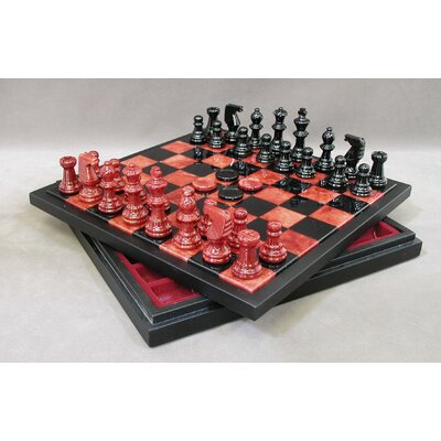 Scali Alabaster Chest Chess Set in Red / Black