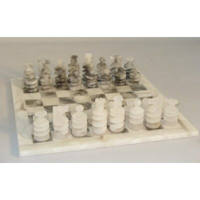 Spiral Alabaster Chess Set in Grey / White