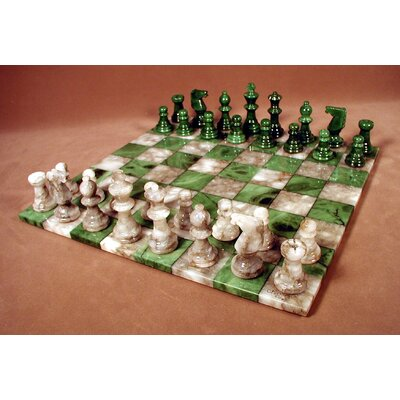 Basic Alabaster Chess Set in Green / Grey