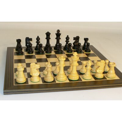Small Black French on Ebony Veneer Chess Board