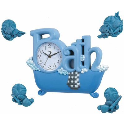 Control Brand Bath Wall Clock in Blue with Four Décor