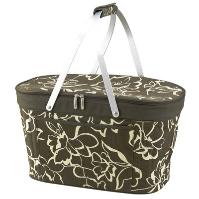 Picnic At Ascot Collapsible Insulated Basket in Olive Print