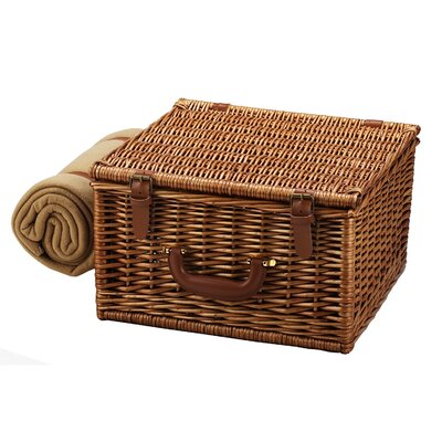 Picnic At Ascot Cheshire Basket for Two with Coffee Set and Blanket in Gazebo