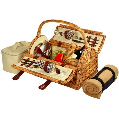Sussex Picnic Basket with Blanket for Two