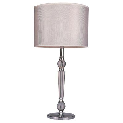 Z-Lite Portable 1 Light Table Lamp in Chrome with White Shade and Crystal Accents