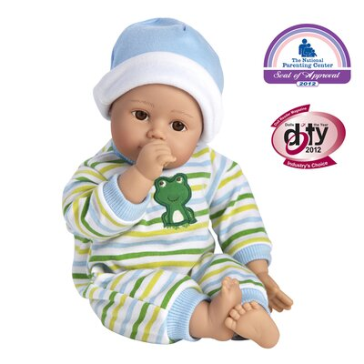 Playtime Baby Boy Doll Light Brown Skintone Blue Eyes Blue Green and White Romper